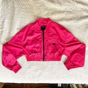 Hot Pink Cropped Bershka Jacket